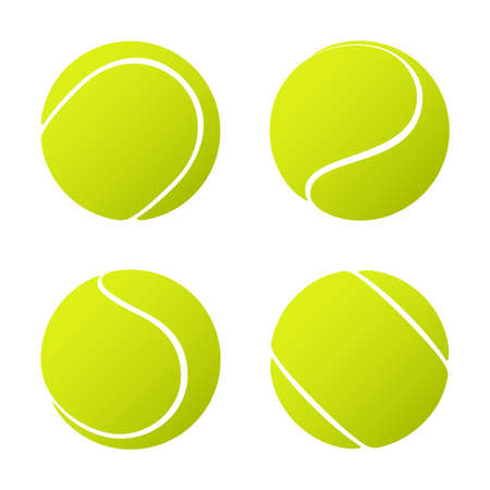 Set of tennis balls isolated on white background