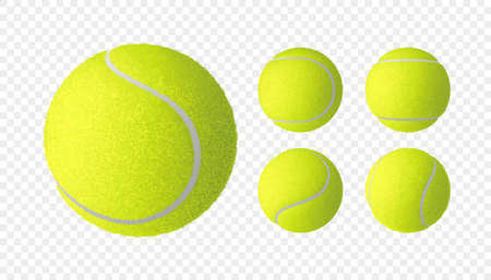 Vector set of realistic tennis balls isolated on checkered background