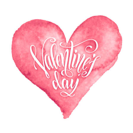 Valentines Day hand-drawn lettering in watercolor heart shape