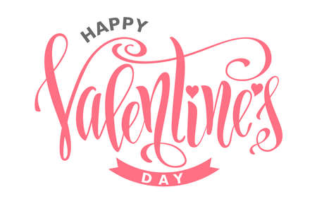 Valentines Day hand-drawn pink lettering