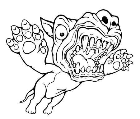 Grinning dog attack coloring page