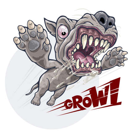 Angry growling dog attacks in jump