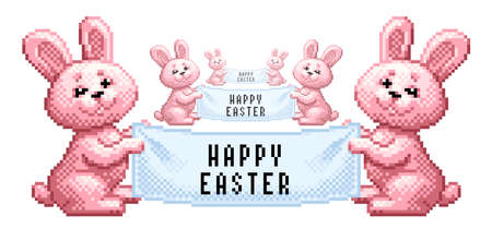 Vector pixel art cartoon Easter bunny and Happy Easter text 向量圖像