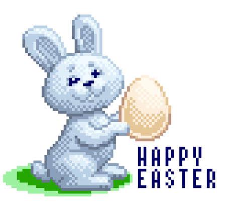 Vector pixel art cartoon Easter bunny with egg