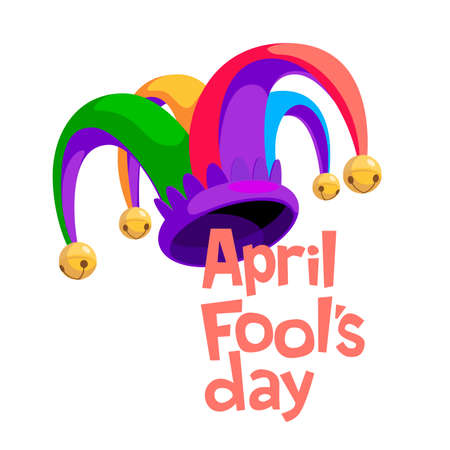 April Fool s day lettering with colorful jester hat isolated on white background 向量圖像
