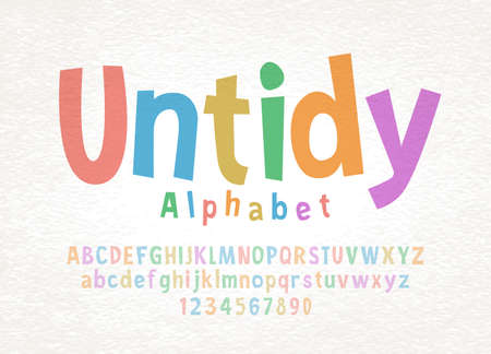 Cartoon hand drawn colorful letters and numbers