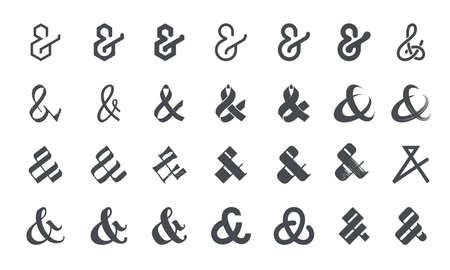 Set of original ampersands for letters and invitation on white background