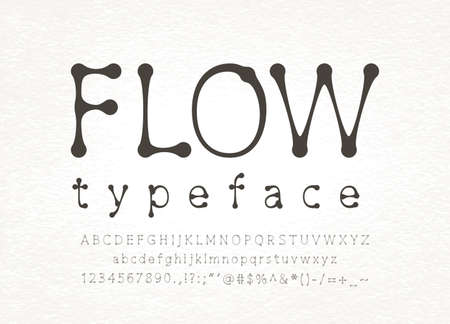Flow font witn uppercase and lowercase letters in alphabet order and symbols and numbers isolated on light background