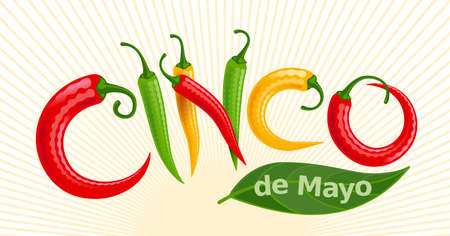 Cinco de Mayo lettering with red, green and yellow Chilli peppers