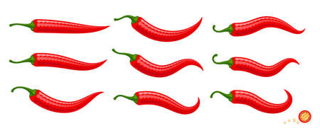 Cartoon red Chilli peppers vector illustration isolated on white background