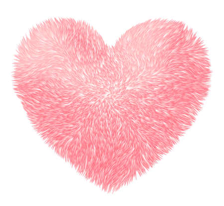 Vector pink fluffy heart isolated on white background