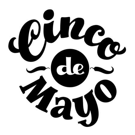 Cinco de Mayo hand drawn lettering isolated on white background