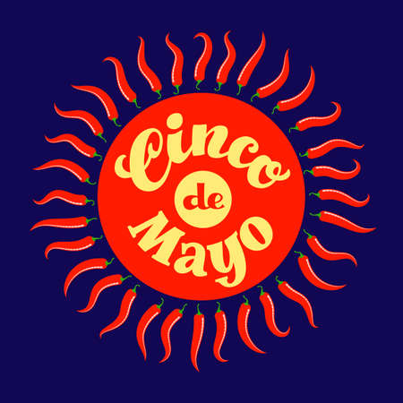 Cinco de Mayo hand drawn lettering in red circle with Chilli peppers like sun rays