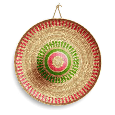 Realistic Summer Straw Wicker Hat like Mexican Sombrero in Top View