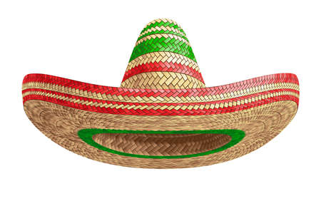 Realistic Summer Straw Wicker Hat like Mexican Sombrero in Front View