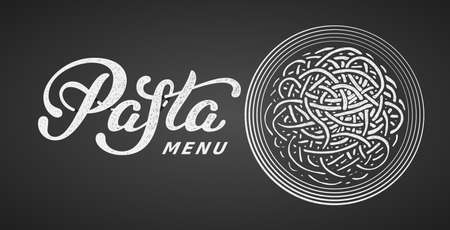 Pasta elegant hand written vector lettering isolated on black background with chalk plate of pasta 向量圖像