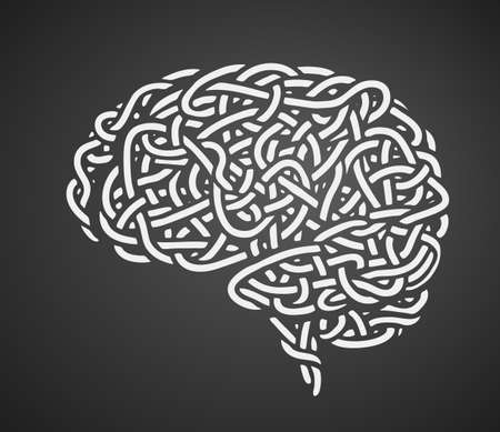 Human brain consist of noodles hand-drawn on black background