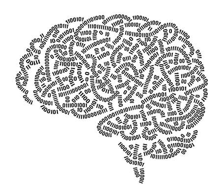 Side view brain consist of binary codes. Black and white vector illustration
