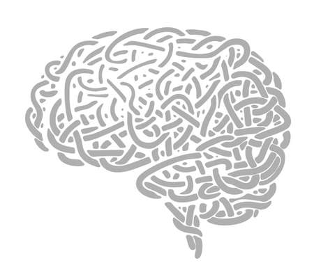 Human brain consists of disorderly interlacing lines that look like noodles, cord, or wire 向量圖像