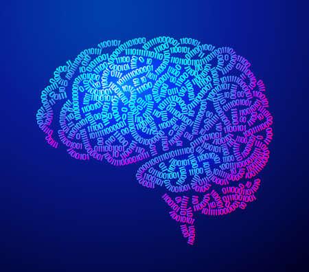 Side view brain consist of binary codes 向量圖像