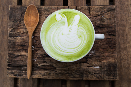 matcha: Japanese drink Matcha Latte Cup of green tea Stock Photo