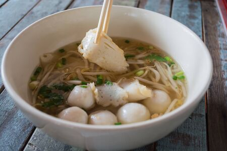 thai noodle soup: Thai Noodle Soup with fish ball