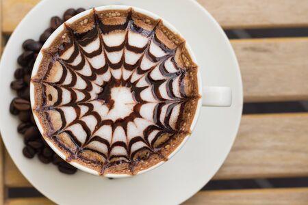 mocha: Mocha coffee on wood table