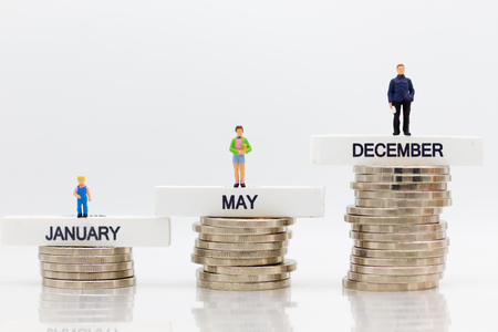 The increase in the amount each month. Image use for savings that result from the work, use of money in the future.