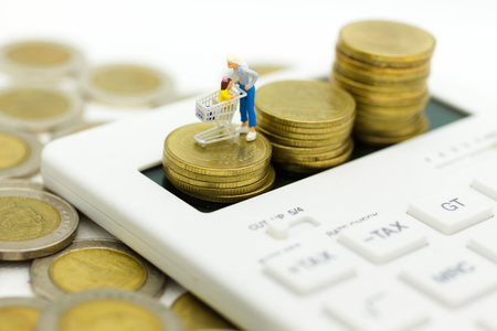 Miniature people: Woman  with shopping cart stand on calculator. Image use for retail business concept. Stock Photo