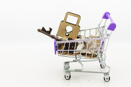 Shopping cart with coins and master key for retail business. Image use for online and offline shopping, marketing place world wide, business concept.