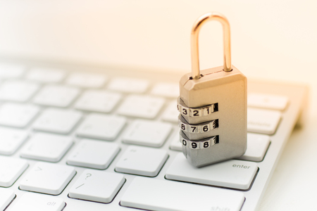 Master key encode, place on the keyboard. Image use for security of using internet by computer, secure concept.