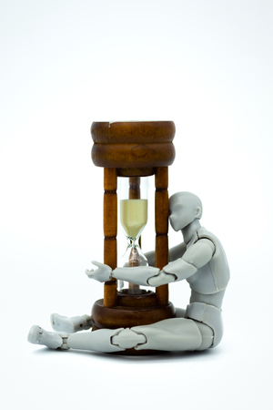 Robot model with hourglass. Image use for time to move forward. 스톡 콘텐츠