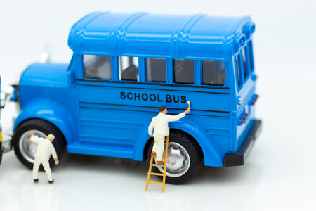 Miniature people : Workers make up the car. Image use for cleaning and maintenance, business autocar concept.