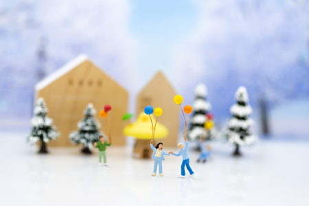 Children playing together in the winter season. Image use for holiday festival. Stock Photo