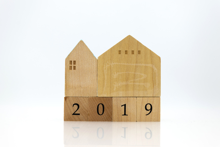 Wooden home with wood block 2019, new year new home. Image use for background money, financial, insurance concept.