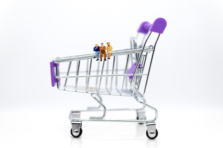 Miniature people: Businessman setting with shopping cart. Image use for shopping, marketing place world wide, business concept.