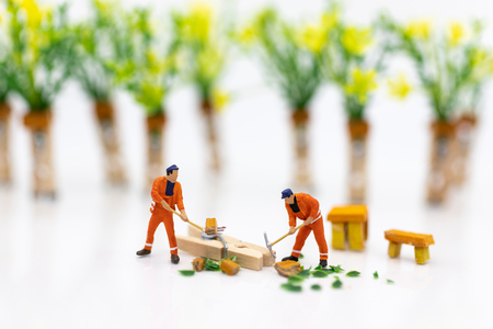 Miniature people : Workers cutting trees for making furniture. Image use for creating new products made of wood, business concept.
