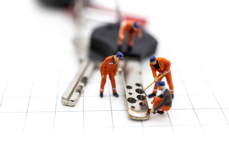 Miniature people : Car repair workers for return to use. Image use for maintenance, warranty, business concept.