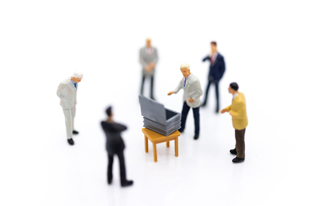 Miniature people : Counting votes from people, image use for Elections, Announcements, Candidates Selection To represent the prime minister. Stok Fotoğraf