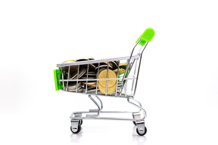 Shopping cart with box inside for retail business. Image use for online and offline shopping, marketing place world wide.