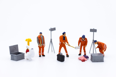 Miniature people : Workers are cleaning, area for clear blank space. Stok Fotoğraf