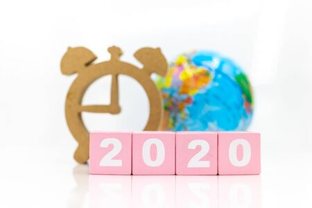 Miniature people : Count down to the new year, Image use for the new beginning of life, business concept