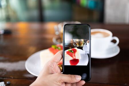 Ordering food online for the convenience of customers through mobile systems, image use for the growth of technology Stock Photo