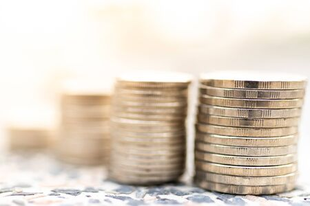 Stack of coins. Image use for benefit business concept, profit growth for investment.