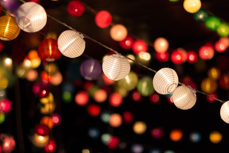 colorful lights: Paper lanterns and lights Stock Photo