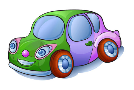 sociable: Cartoon car cheerful, sociable and willing to communicate. Jokes way for childrens issues Illustration