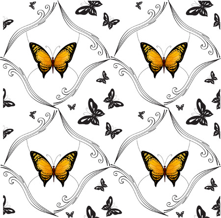 pinstripes: Flying bright butterflies resemble the summer. Background for beauty and a sense of celebration Illustration