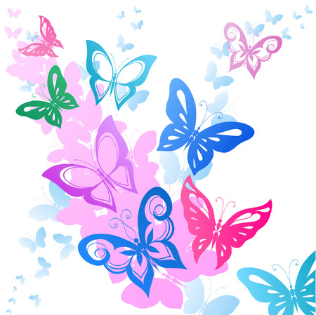 light pink: Abstract silhouettes invented decorative butterflies. These butterflies are reminiscent of lace, they are created to decorate