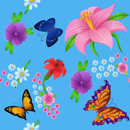 Flying bright butterflies resemble the summer. Background for beauty and a sense of celebration Vector