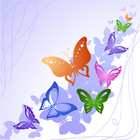 Abstract silhouettes invented decorative butterflies. These butterflies are reminiscent of lace, they are created to decorate